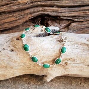 Bracelet malachite en argent